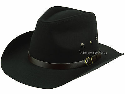 5c6e68f39e0 Hawkins 100% Pure Cotton Wide Brim Cowboy Hat Headwear With Faux Leather  Band