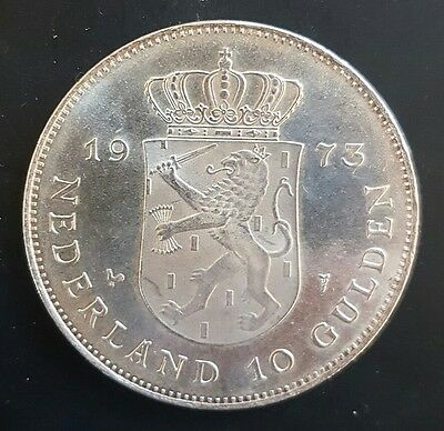 1973  Netherlands 10 Gulden Silver Coin (Crown Size) UNC....