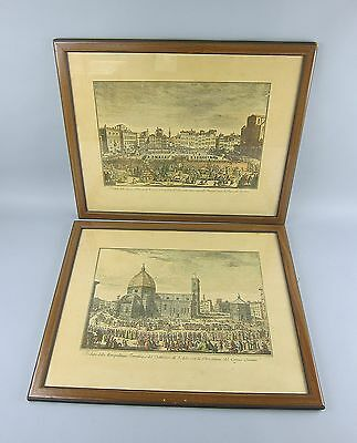 Pair of Hand Colored Antique Etchings by Giuseppe/Joseph Zocchi Venetian Views