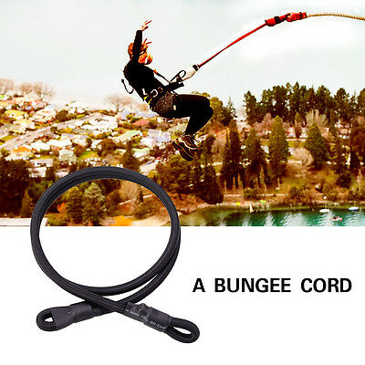 Outdoor Rock Elastic Climbing Safety Bungee Jumping Rope Belt ELBL 10mm Black*