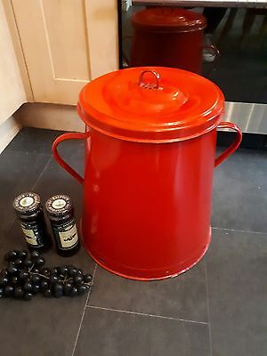 Large red enamel vintage storage distressed  industrial bread bin olive pot