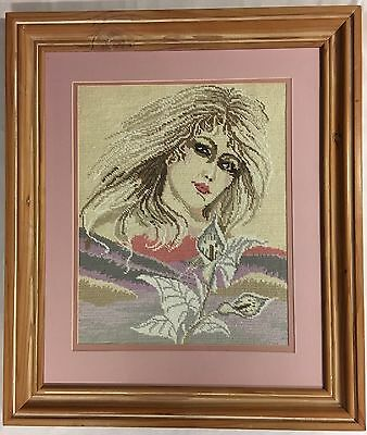 Retro Framed Handcrafted Tapestry Girl Figure Signed E Zimmerman 47cm x 38cm