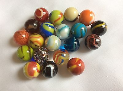 20 Small 16mm COLOURFUL GLASS MARBLES a mixture of the worlds best all different