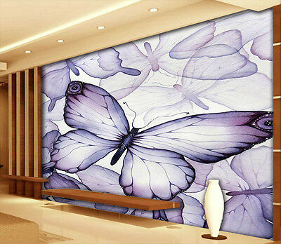 Puple Butterfly 3D Full Wall Mural Photo Wallpaper Printing Home Kids Decoration