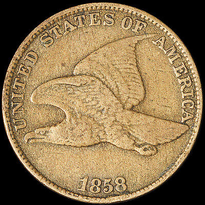 1858 1c Flying Eagle - Large Letters - Free Shipping USA