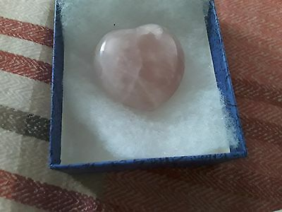 Pink Heart Shaped Glass Paperweight boxed