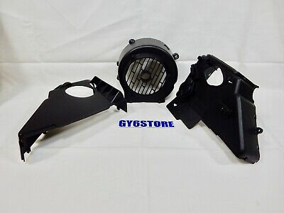 Cooling fan cover with upper and lower shroud for scooters with 150cc GY6 motors
