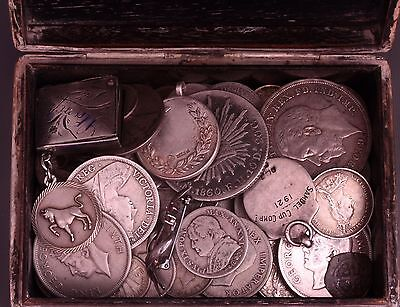 Antique Japanese Silver Cigarette box with 100+ Silver Content coins UK & World