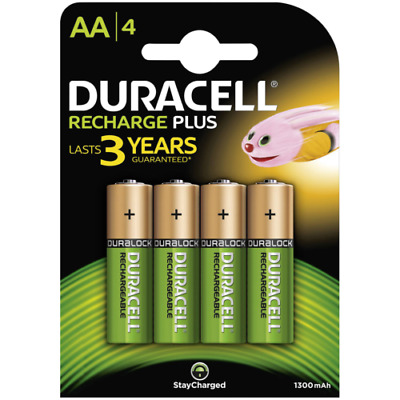 4x Duracell Recharge Plus AA Rechargeable Batteries StayCharged Duralock 1300mAh