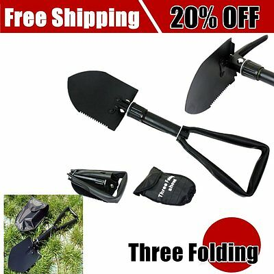 Carbon Steel Three Folding Spade Shovel Camping Portable Survival Tool P6