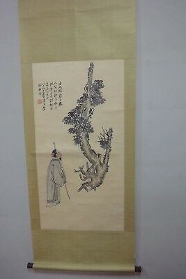 "Large Rare Old Chinese Scroll Hand Painting ""ZhangDaQian"" Marks"