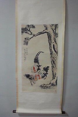"Large Rare Old Chinese Scroll Hand Painting ""QiBaiShi"" Mark"