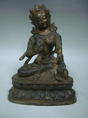 Exquisite Rare Old Chinese Golden Bronze Buddha Seated Statue