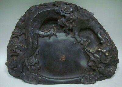 Amazing Old Chinese Fine Hand Carving Dragon InkStone InkSlab Marks