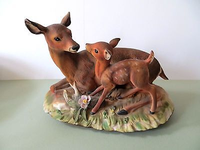 Homco Home Interiors Masterpiece Porcelain DOE and FAWN DEER