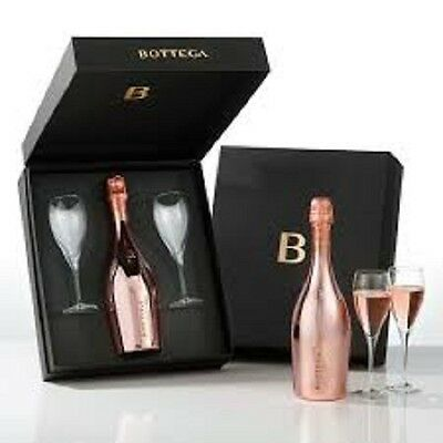 Prosecco Sparkling Roise with 2 flutes in gift box