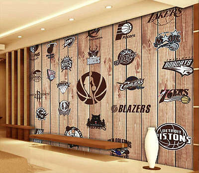 Basketball Badge 3D Full Wall Mural Photo Wallpaper Printing Home Kids Decor
