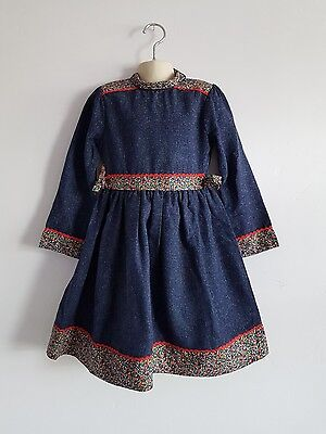 Vintage Jenny McDowell Girls Long Sleeved Blue Dress Age 8