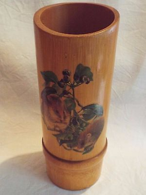 Vintage Chinese Bamboo Paint Brush Pot With Field Mice Mouse Decoration