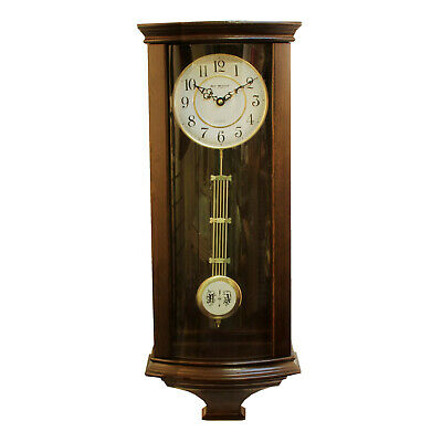 Deluxe Vintage Style Wooden Pendulum Wall Clock Arabic Dial Glass Front 65x26cm