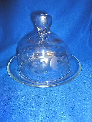 Vintage Domed Dish  Crystal W Wheat Design Pre 1940