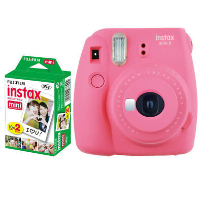 Fujifilm Instax Mini 9 Instant Camera (Flamingo Pink) +  Instax Film (20 Shots)