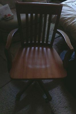 (NEATH) CAPTAINS CHAIRS x 2 WOOD PINE SWIVEL LEAN BACK ON CASTORS DINING CHAIRS