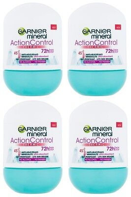 4 Garnier Mineral Action Control Thermic Antiperspirant Deodorant Roll on Women