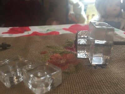 9 Matching Antique Clear Glass Cabinet Door Dresser Drawer Knobs Pulls etched sq