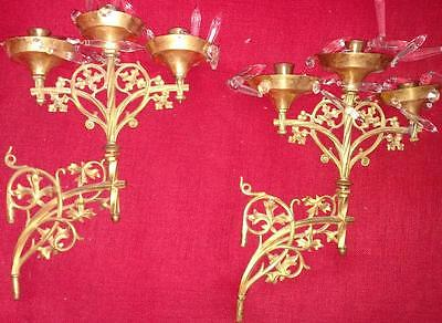 2 Vintage Brass Sconces Candle Holders Double Wall Mount Swivel Ornate Gold-Tone