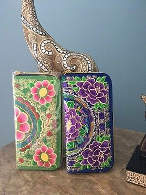 Embroidery wallet and phone case (good for Iphone 6plus size or same size)