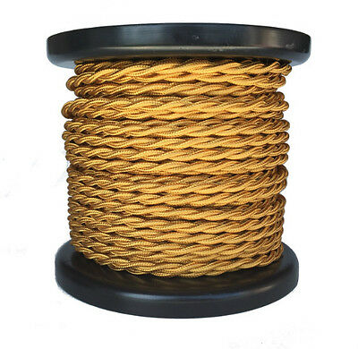100 ft. Spool- Gold Twisted Rayon Covered Wire, Antique Style Cloth Lamp Cord