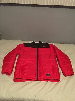 Nike RED And Black Winter Jacket Zip Up Puffer Coat/jacket Boys Size XL