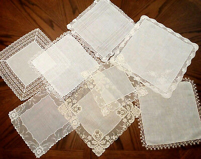 8 VINTAGE WEDDING HANKIES Lot FANCY LACE Embroidery TATTED Linen EXCELLENT