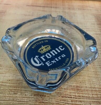 Corona Extra Beer Square Crystal Ashtray Heavy Glass Hard To Find