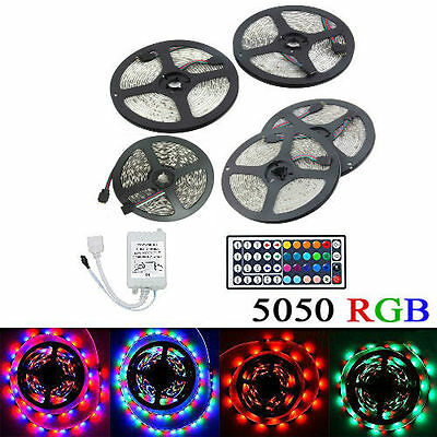 5M 10M 15M 20M IP65 Waterproof 5050 RGB LED Strip +/- 44Key IR Remote Control