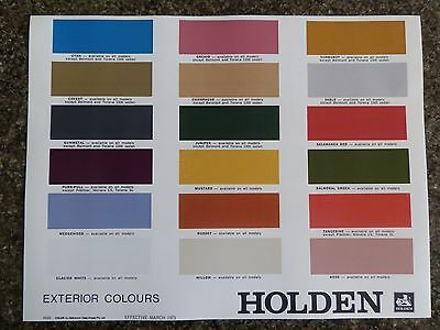 Holden 1973 Hq ''colour Chart''  Brochure 100% Guarantee.