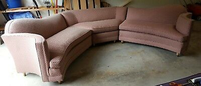 STUNNING RARE curved 3 piece Vintage Mid Century 60s sectional sofa couch! LOOK!