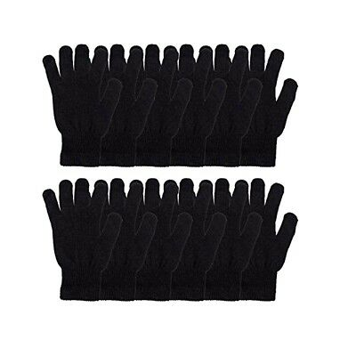 Men's Women Winter Warmer Knit Knitted Casual Gloves Stretch Solid Black Lots