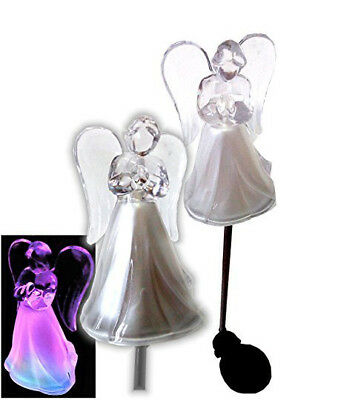 Clear Acrylic Angel Solar Powered Yard Stick w/ Multi Color LED Lights, Set of 2