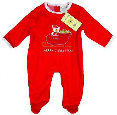 Baby Romper Red Merry Christmas Santa SLEIGH Velour All in One 0 to 6 Months