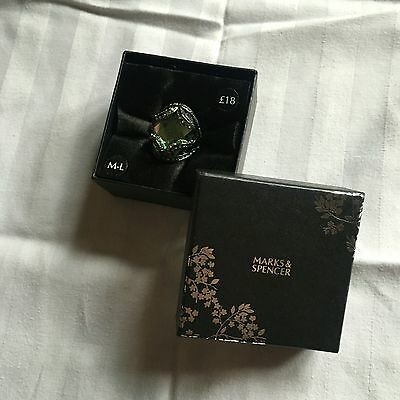 BNIB Marks and Spencer M&S costume Jewellery Ring Green