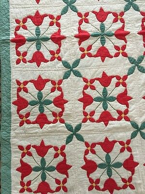 Gorgeous Vintage Bright Red Tulip Star Handmade Quilt