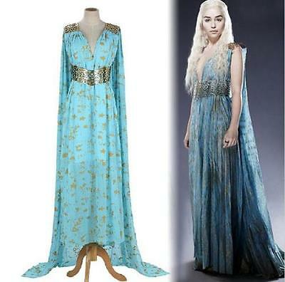 US SELLER Daenerys Targaryen Qarth Blue Green Dress Costume Game of Thrones