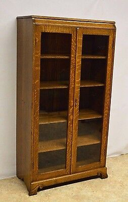 Antique Quartersawn Oak 2 Door Bookcase China Cabinet Refinished