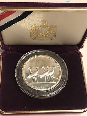 1994 Egypt, Silver Proof 5 Pounds, 5 Ibis Birds, Gem Uncirculated, With Box
