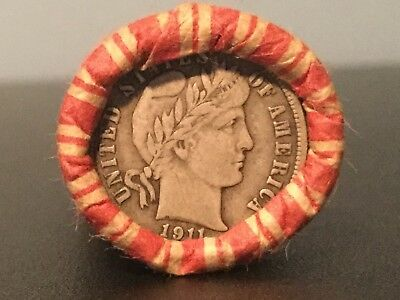 Unsearched Wheat Penny Roll Capped With XF Barber Dime 90% Silver(U.S. Coin Lot)