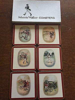 Johnnie Walker Red Coasters- Set of 6 Red Old Print with Cork Bottoms
