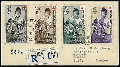 Laos 1960 Reko-Brief Rotes Kreuz Red Cross 81-84 Vientiane nach Schweden / 4