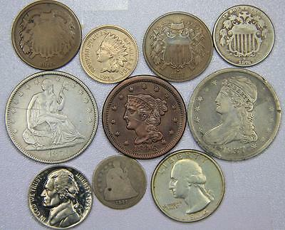 10 US Coin Type Lot - Large Cent to Capped Bust Half Dollar 1837-1953 High Grade